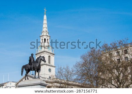 Bronze Statue of King George IV in Front of St. Martin-in-the-Fields, London, England - stock photo