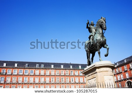 Bronze statue of King Philip III constructed in 1616 at the Plaza Mayor in Madrid, Spain, composition with copyspace. - stock photo