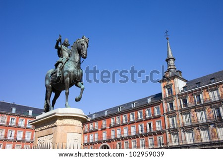 Bronze statue of King Philip III constructed in 1616 by Giovanni de Bologna and Pietro Tacca at the Plaza Mayor in Madrid, Spain. - stock photo