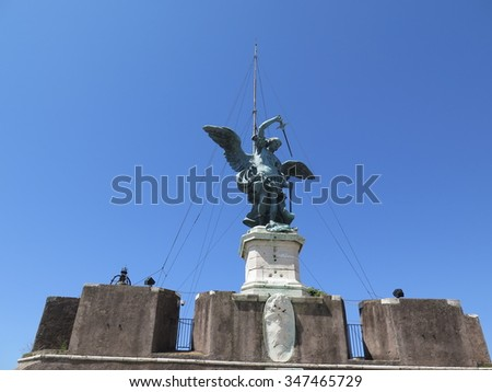 Bronze Statue of Michael the Archangel, Rome, Italy