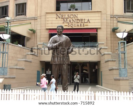 Bronze statue of Nelson Mandela - stock photo