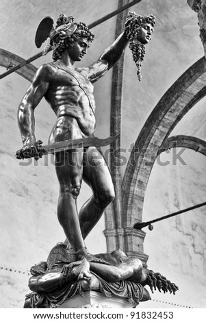 bronze statue of Perseus holding the head of Medusa, Florence - stock photo