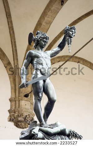 bronze statue of Perseus holding the head of  Medusa,Florence, Italy - stock photo