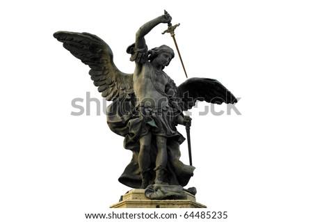Bronze statue of Saint Michael by Peter Anton von Verschaffelt in Castel Sant'Angelo, Rome Italy - stock photo