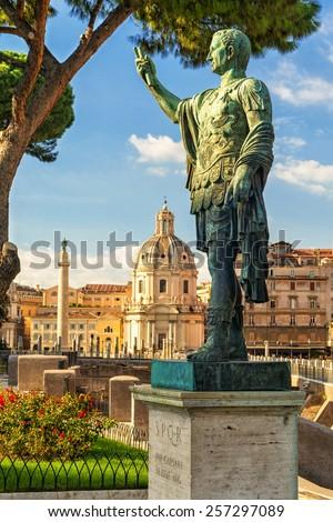 Bronze statue of the emperor Nerva in Rome, Italy - stock photo