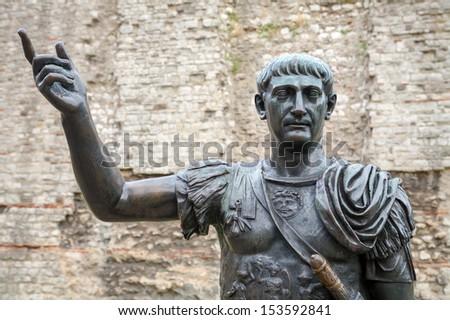 Bronze statue of the roman emperor Trajan. London, England,  Europe - stock photo
