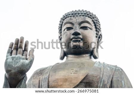 bronze statue of the Tian Tan Buddha ( Big Buddha ), Po Lin Monastery, Lantau Island, Hong Kong - stock photo