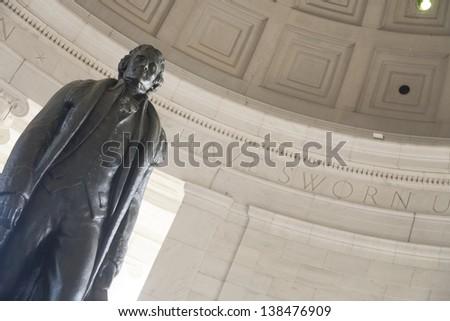Bronze statue of Thomas Jefferson in the Thomas Jefferson Memorial, Washington DC, USA - stock photo