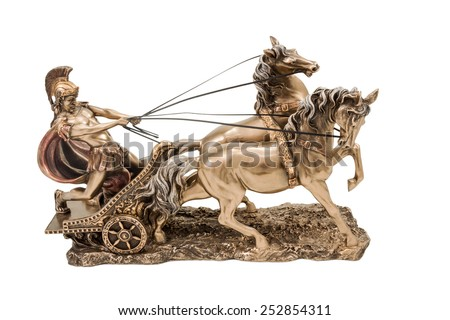 Bronze statuette of the Roman war in a chariot with two horses isolated on a white background - stock photo