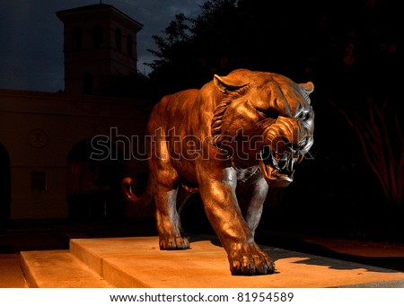 Bronze Tiger Statue - stock photo