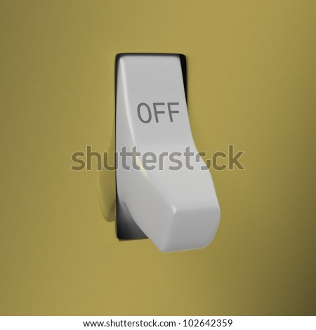 Bronze wall light switch set to OFF close up on white background