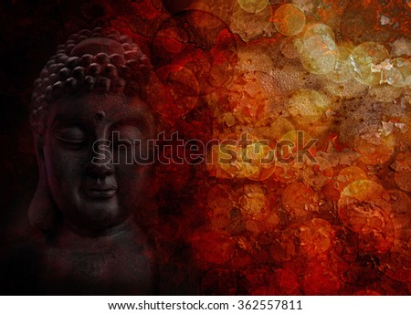 Bronze Zen Buddha Statue Meditating Face Front Portrait with Blurred Textured Red Background - stock photo