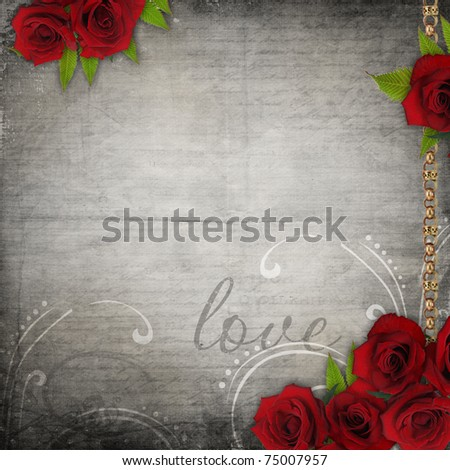 Bronzed vintage frames on old grunge background  with red roses and lace - stock photo