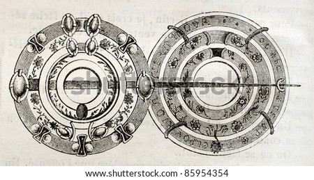 Brooch from Louis IX cloak, old illustration. By unidentified author, published on Magasin Pittoresque, Paris, 1842 - stock photo