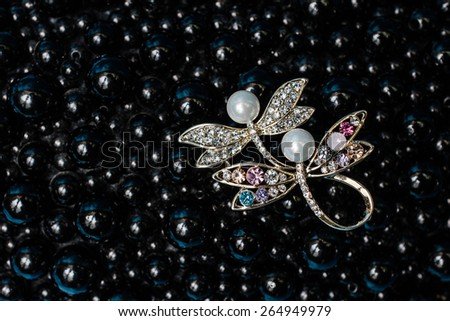 Brooch in the form of a dragonfly on a black background - stock photo