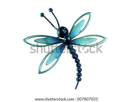 Brooch in the shape of a dragonfly - stock photo