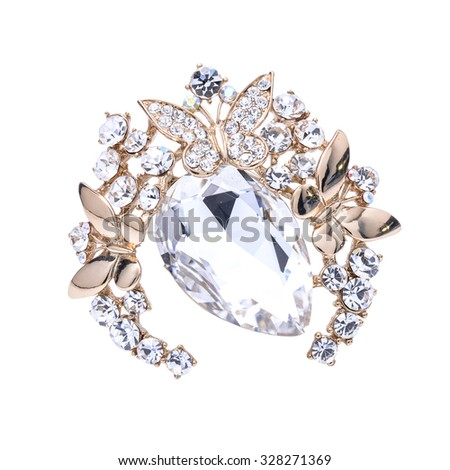 brooch with gems isolated on white - stock photo