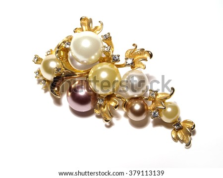 Brooch with pearls  - stock photo