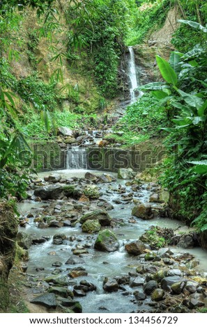 Brook in Saint Lucia, Caribbean - stock photo