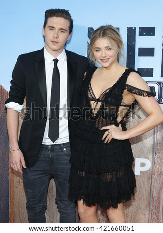Brooklyn Beckham and Chloe Grace Moretz at the Los Angeles premiere of 'Neighbors 2: Sorority Rising' held at the Regency Village Theatre in Westwood, USA on May 16, 2016. - stock photo