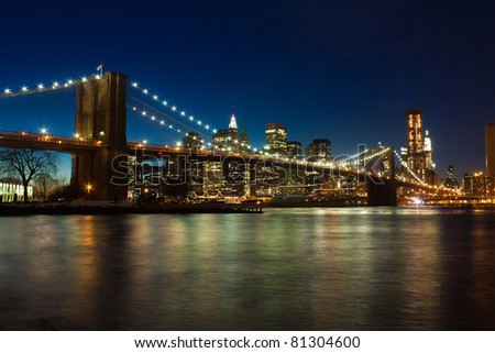 Brooklyn bridge after sunset, New York - stock photo