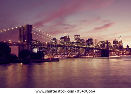 Brooklyn Bridge and Manhattan at sunset, New York - stock photo