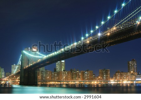 Brooklyn Bridge and Manhattan skyline At Night Lights, NYC