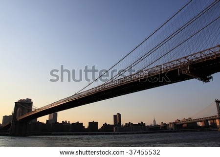 Brooklyn Bridge and Manhattan skyline At Sunset, New York City