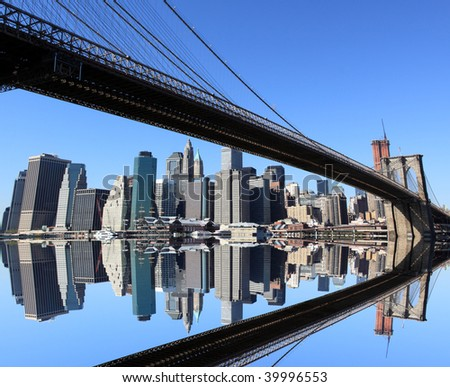 Brooklyn Bridge and Manhattan skyline on a Clear Blue day - stock photo
