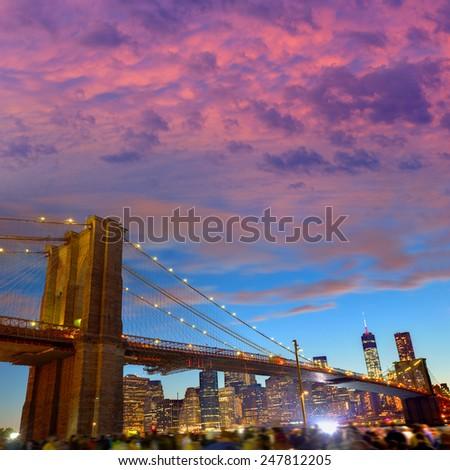 Brooklyn bridge and Manhattan skyline on July 4th New York USA - stock photo