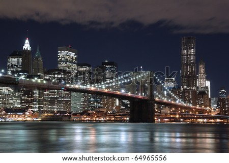 Brooklyn Bridge and New York City Skyline - stock photo