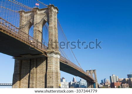 Brooklyn bridge and skyline as seen from Manhattan, New York City - stock photo