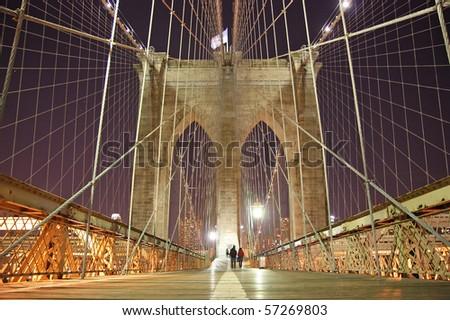 Brooklyn Bridge Arch at night - stock photo
