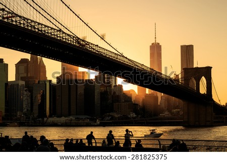 Brooklyn bridge at sunset, New York City - stock photo