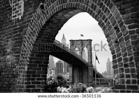 Brooklyn Bridge Brick Arch - stock photo