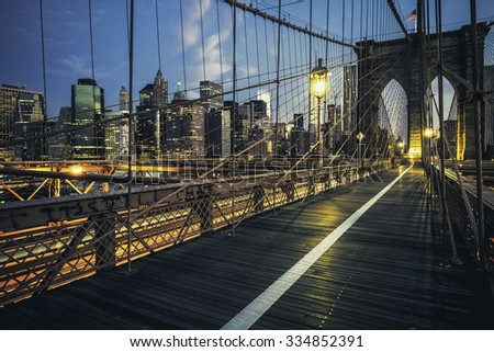 Brooklyn Bridge by night, New York, USA. - stock photo