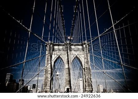 Brooklyn Bridge Cables - stock photo
