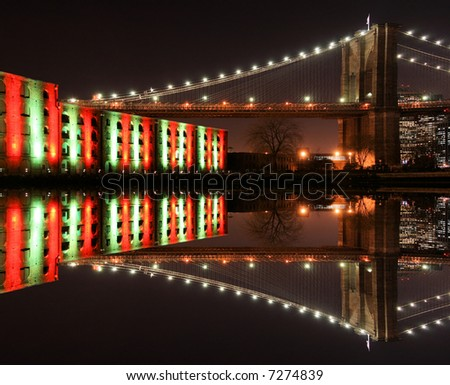Brooklyn Bridge Christmas Lights in New York City - stock photo
