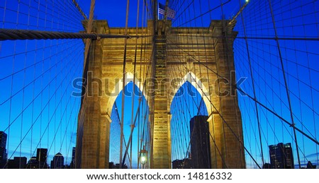 Brooklyn bridge during dusk in Manhattan, New York City, United States of America - stock photo