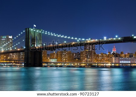 Brooklyn Bridge. Image of Brooklyn Bridge with Manhattan skyline in the background.