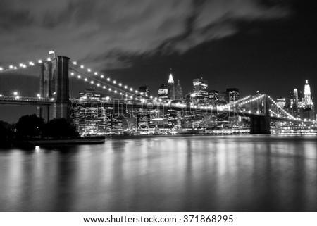 Brooklyn Bridge in black and white - stock photo
