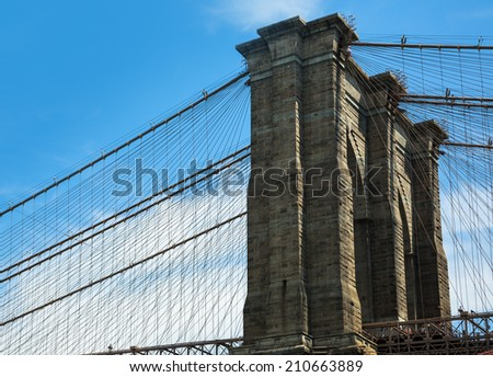 Brooklyn bridge in Manhattan,  New York City - stock photo