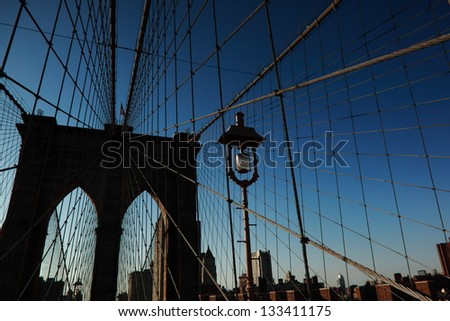Brooklyn Bridge in New York - stock photo