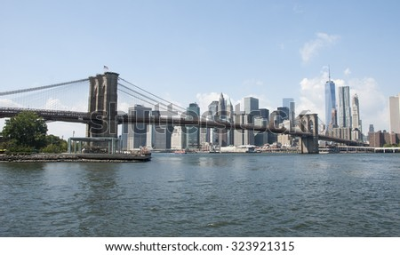 Brooklyn Bridge in New York City. - stock photo