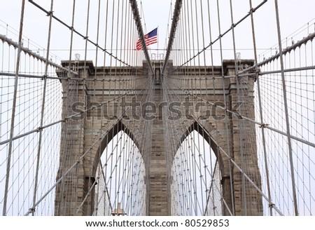 Brooklyn Bridge in New York City - stock photo