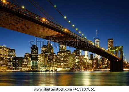 Brooklyn Bridge in New York City at Dusk - stock photo