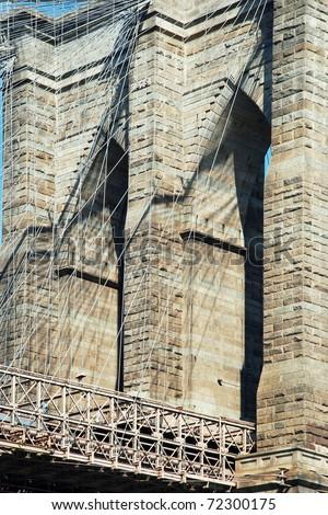Brooklyn bridge in New York City detailed view - stock photo