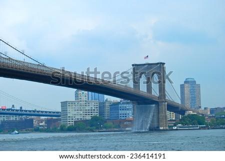 Brooklyn Bridge in New York City on June 26, 2008, USA. - stock photo