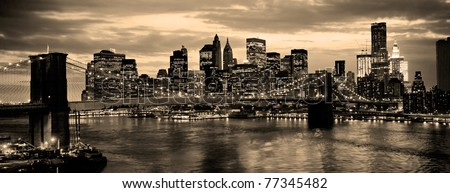 Brooklyn Bridge in new York City over the East River - stock photo