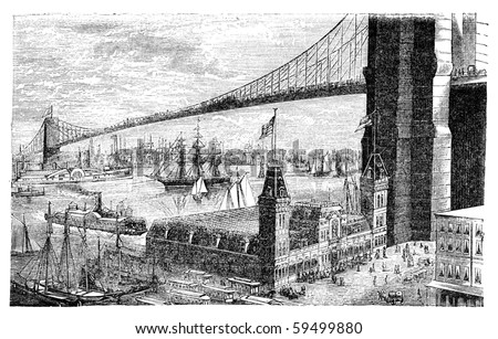 "Brooklyn bridge in New York. Illustration originally published in Hesse-Wartegg's ""Nord Amerika"", swedish edition published in 1880. - stock photo"